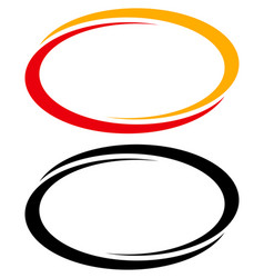 Oval ellipse banner frames borders duotone and vector