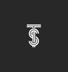 Overlapping ts or st initials logo monogram black vector
