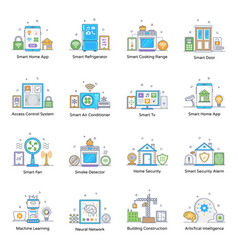Pack smart devices and home appliances flat con vector