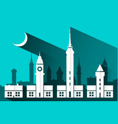 paper cut building flat design abstract city with vector image