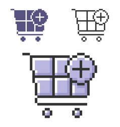 Pixel icon shopping trolley with plus sign add vector