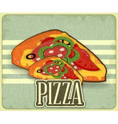 Pizza retro label vector
