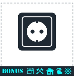 Power socket icon flat vector