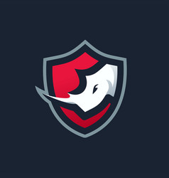 rhino shield e sport logo icon vector image