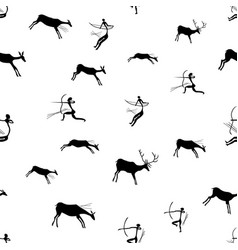 Rock paintings with hunting scene vector