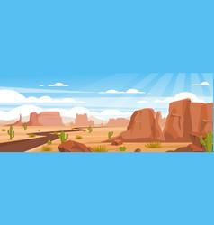 Sandy desert landscape colorful flat vector
