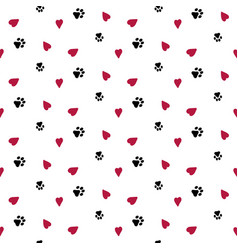 Seamless background with hearts and dog footprint vector