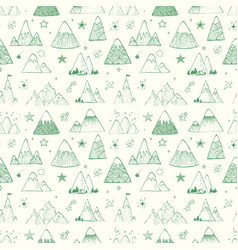 seamless pattern with mountains and stars can vector image