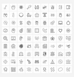 Set 81 simple line icons sale transport vector