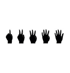 set of black hand gesture silhouette vector image