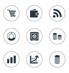 Set of simple finance icons elements earnings vector