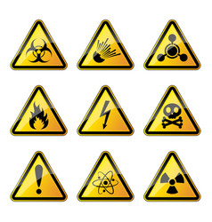 set of warning danger signs vector image