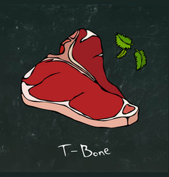 t-bone steak cut isolated on chalkboard vector image