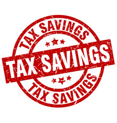 Tax savings round red grunge stamp vector