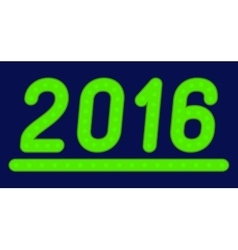 The inscription 2016 made of green lights vector image