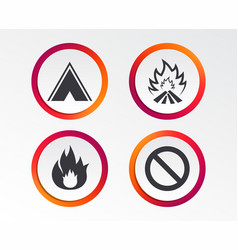 tourist camping tent sign fire flame icons vector image
