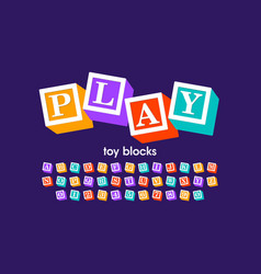 toy blocks font alphabet letters and numbers vector image