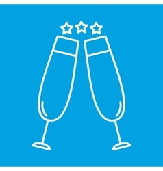 Two glasses thin line icon vector