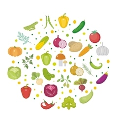 Vegetables icon set in a round shape Flat style vector image vector image