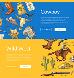 wild west cowboy web banners with horses vector image