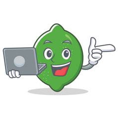 With laptop lime character cartoon style vector