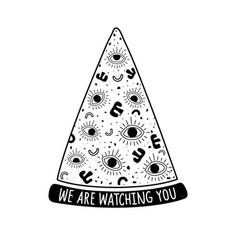 with piece pizza eyes doodle print design vector image