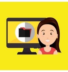woman laptop screen vector image