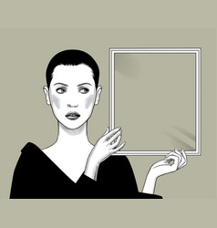 Woman with short hair holding a rectangular frame vector