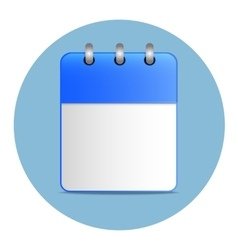 Blank white sheet of calendar in blue color vector image