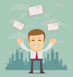 cheerful business man with big envelope vector image
