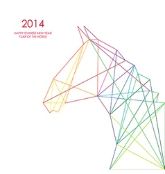 Chinese new year of the Horse triangle lines vector image