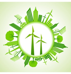 Eco cityscape with wind mill vector