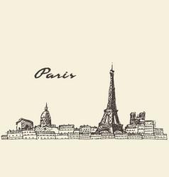 paris skyline france hand drawn vector image
