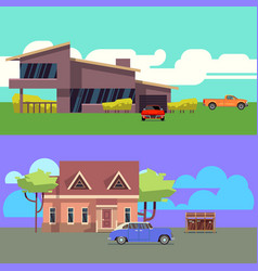 set with residential houses with cars flat vector image vector image