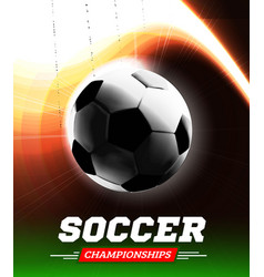 soccer or football ball in the backlight with a vector image