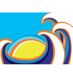 Abstract sea waves poster Color vector image