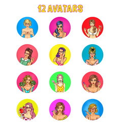 collection of pop art female avatars for vector image