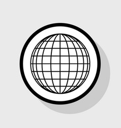 earth globe sign flat black icon in white vector image