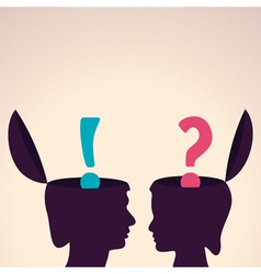 Human head with question and exclamatory mark vector image