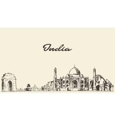 India skyline drawn sketch vector image