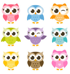 set of cute colorful owls isolated on white vector image vector image