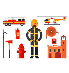 set of firefighter elements fireman in uniform vector image