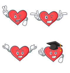 set of heart character with two finger wink vector image vector image