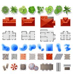 set of landscape design elements vector image vector image