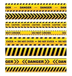 Yellow warning tapes set vector image