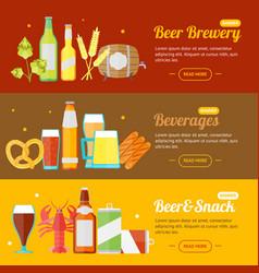 beer banner card horizontal set vector image
