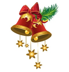 Christmas bells with a stars vector image vector image
