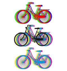 colorful bicycle silhouettes set vector image vector image