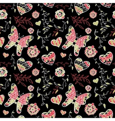 Floral seamless pattern with flowers hearts and vector image vector image