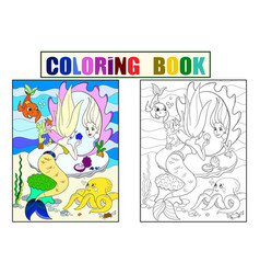 mermaid looks in the mirror coloring book for vector image